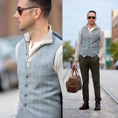 Persol Sunglasses, J. Crew Henley, J. Crew Sweater, Reiss Waistcoat, Uniqlo Chinos, Gorjana & Griffin Bag, Allen Edmonds Boots