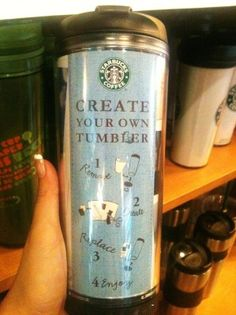 "just had a genius idea!!! Buy a ""create your own tumbler"" to go cup from starbucks (where you can replace the paper inside with your own photos, design, etc.) and fill with old lilly agenda pages!! interchangable depending on your mood :)"