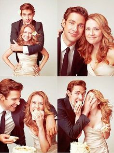 Jim & Pam from the Office. Lets talk about how they married (in real life) different people the same month/year. Movies Showing, Movies And Tv Shows, Jim Pam, Office Memes, Office Quotes, Photo Couple, Funny Couple Photos, Michael Scott, Tv Couples