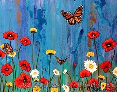 Flowers and Butterflies acrylic painting by MelissaATorresArt, $200.00