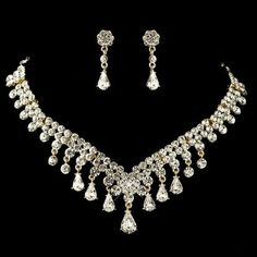 gold plated rhinestone wedding and prom necklace and earring jewelry set.