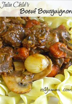 Impress your dinner guests by making Julia Child's boeuf bourguignon recipe. It's a beautiful dish of beef, mushrooms, and onions, braised in red wine.