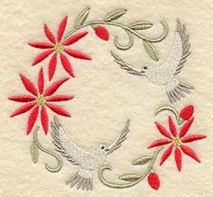 Christmas Wreath with Doves-- 7 Color changes.
