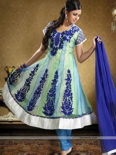 Enhance your beautiful wearing this anarkali suit designed with blue and green shade. Alternate vertical kalidar patch featured kameez enhanced with embroidery motifs, which makes it perfection for any special occasion. http://goodbells.com/salwar-suits/green-and-blue-shade-anarkali-salwar-kameez.html?utm_source=pinterest_medium=link_campaign=pin21Aug_R31P95