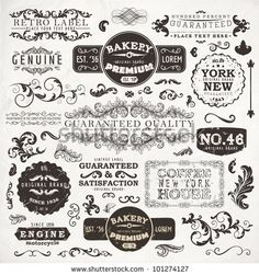 stock vector : Retro labels and vintage badges: Bakery, Guaranteed and Satisfaction, Coffee House, Genuine | Set of old page elements for design | Grunge paper background