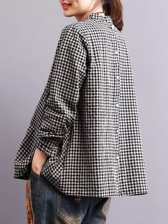 Vintage Plaid Patchwork Blouses for Women Fashion 101, Fashion Outfits, Summer Business Casual Outfits, Linen Shirt Dress, Stylish Plus, Denim And Lace, Couture Tops, Chic Dress, Pullover