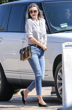 Out and about: Miranda Kerr, 33, opted for a laid-back look for her outing in Malibu