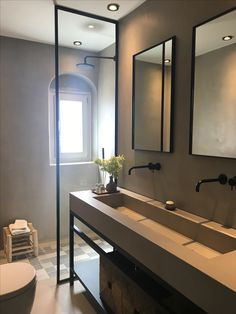 Home - Stones & Walls modern european master bathroom design Industrial Bathroom, Modern Bathroom, Small Bathroom, Bathroom Ideas, Bathroom Black, White Bathrooms, Luxury Bathrooms, Bathroom Pictures, Master Bathrooms