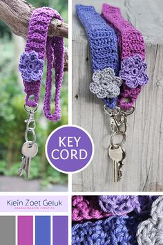 Wish it was in english DIY Crochet keycord, Klein Zoet Geluk Crochet Diy, Love Crochet, Crochet Gifts, Crochet Flowers, Crochet Ideas, Crochet Lanyard, Crochet Keychain, Crochet Necklace, Loom Knitting