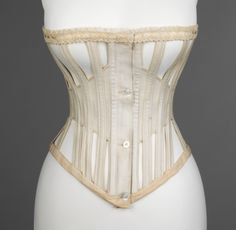 """1871 """"ventilated"""" corset for summer and sporting wear. Buttons instead of a busk!"""