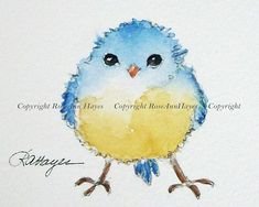 Baby Bird Watercolor Original Painting Art Animal Nursery Gift #watercolorarts
