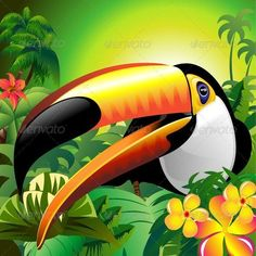 Buy Toucan Close Up on Green Jungle by Bluedarkat on GraphicRiver. Awesome, Colorful Toco Toucan Close Up on a Green Bright Tropical Jungle, with Flowers and Palm Trees. Tropical Birds, Colorful Birds, Animal Paintings, Animal Drawings, Close Up Art, Toco Toucan, Exotic Art, Airbrush Art, Bird Illustration