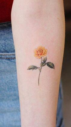 Yellow Rose Tattoos, Rose Tattoos For Men, Tattoos For Guys, Tattoos For Women, Yellow Tattoo, Tattoo Women, Tattoo Black, Cute Tattoos, Beautiful Tattoos
