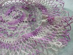 Antique Vintage Lace Doily Lavender 9 inch Round Cottage Sweet J528 Ruffled Edge Seller florasgarden on ebay