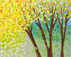 """Social Artworking Canvas Painting Design - Yellow Maples  CANVAS SIZE:  16"""" x 20""""  TIME TO PAINT:  approximately 2 hours"""