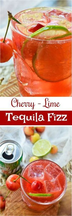 Warm summer days can only get better with this refreshing Cherry Lime Tequila Cocktail! This simple summertime drink recipe is made with fresh lime, tart cherry juice, tequila and 7UP. Perfect for entertaining or a day at the lake! Mezcal Cocktails, Summer Cocktails, Cherry Cocktails, Peach Sangria, Christmas Cocktails, Party Drinks, Fun Drinks, Alcoholic Drinks, Beverages
