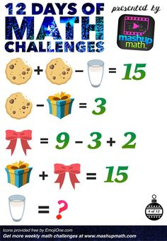 Are You Ready for 12 Days of Holiday Math Challenges? Math Games, Math Activities, Brain Teasers For Kids, Math Challenge, Math Talk, Christmas Math, Christmas Writing, Daily Math, Math About Me