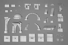 These are some examples of the ruins asset system my colleague and I used for our bachelor's thesis. We had about three months for the project, so our goal was to achieve as much variation as possible with a pretty small amount of assets. I modelled Environment Concept, Environment Design, 3ds Max, Mode 3d, Low Poly Games, Temple Ruins, Low Poly Models, Environmental Art, Art Model