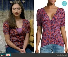 Riley's purple floral button front top on Girl Meets World.  Outfit Details: https://wornontv.net/62370/ #GirlMeetsWorld