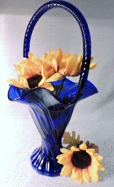 VIntage Fenton Cobalt Blue Basket Vase Swirl by LadyLydiasLoft