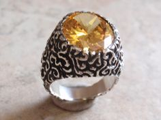 Yellow CZ Ring Large Stone Size 6 Ornate Vintage AT0128 by cutterstone on Etsy #yellowring #yellowCZ #sterlingsilver #statementring #vintagering