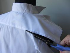 This upcycled dress shirt is a fantastic idea. You can take any unused dress shirt and necktie and create a fabulous new tank top.upcycled dress shirt for adults or childrenSite with tons of upcycled ideas Sewing Hacks, Sewing Tutorials, Sewing Tips, Diy Dress, Shirt Dress, Umgestaltete Shirts, Sewing Alterations, Shirt Refashion, Upcycle Shirts