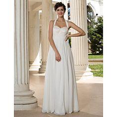 Sheath/Column Halter Floor-length Chiffon Wedding Dress – USD $ 127.99