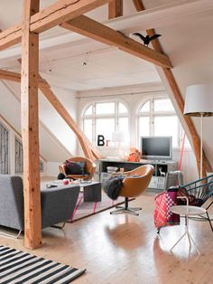 wooden beams and beautiful natural light