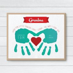Mothers Day Crafts For Kids Discover Personalized Gift for Grandmother CUSTOM Handprint Art Mothers Day Hand Print Gift from Kids Grandmother Birthday Gift Children Gift Grandparents Day Crafts, Grandmas Mothers Day Gifts, Mothers Day Crafts For Kids, Grandmother Gifts, Grandparent Gifts, Fathers Day Crafts, Mothers Day Cards, Gifts For Kids, Diy Gifts For Grandma