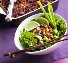 Mausteinen jauhelihasalaatti, resepti – Ruoka.fi - Spicy meat salad