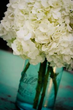 White hydrangeas + blue mason jar.  I want this on my coffee table on a weekly basis.  thank you.