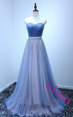 2018 Beautiful Tulle Handmade Sweetheart Long Prom Dress, Prom Gowns, Evening Dresses from flordabridal Homecoming Dresses Long, Prom Dresses 2016, Elegant Prom Dresses, Prom Party Dresses, Dress Party, Prom Gowns, Homecoming Ideas, Formal Dresses, Formal Wear