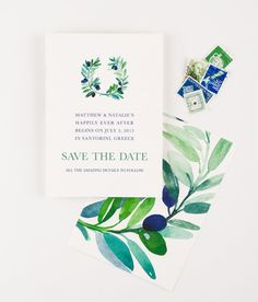 Tuscany Vineyard Save The Date - Olive Branches {Seahorse Bend Press via Etsy}