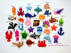 MAR y océano criaturas fieltro imanes - precio por 1 artículo - haga sus propio set - pulpo, tiburón, Ray, cangrejo, estrella de mar, perla, delfín, ballena, caballo de mar