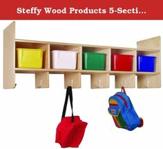 """Steffy Wood Products 5-Section Wall Locker. Smaller version of our ten section locker. Each storage section measures 6"""" high x 9"""" wide. Includes eight coat hooks."""