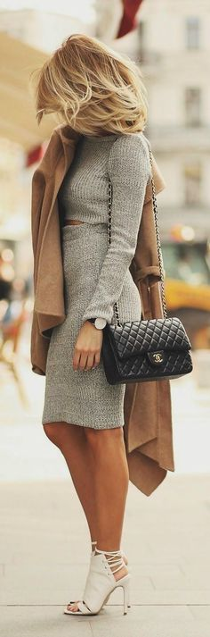 Attractive Gray Mini Dress with Beige Cosy Coat, Chanel Leather Long Bag and White Modern Heeled Shoes