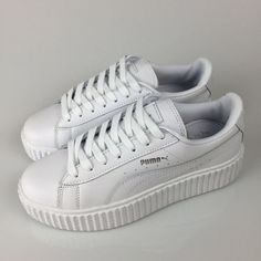 c293df9eeb vendre Puma by Rihanna Cuir Creepers Homme Femme Chaussures Blanche Silver  France