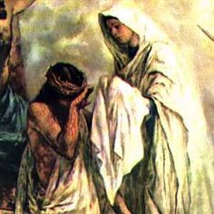 The Fourth Sorrowful Mystery:  Carrying the Cross. Veronica wipes the face of Jesus