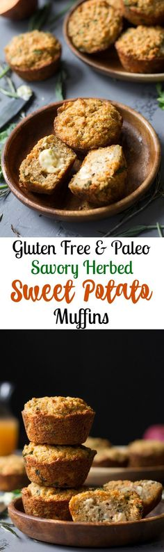 Paleo savory herbed sweet potato muffins that are perfect with any meal or as a snack!  Great for Thanksgiving or any time of year, this savory Paleo muffin recipe will be a favorite for everyone!  Gluten free, grain free, Paleo.