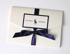 Custom Wedding Invitation, inspired by Polo Ralph Lauren, in Natural White and Navy Blue by embellishedpaperie.com