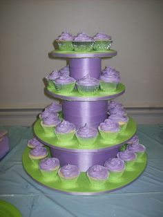 I made this cupcake tower for a Princess and the...