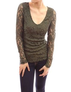 e96899a0437e55 PattyBoutik V-Neck Floral Lace Overlay Lined Long Sleeve Party Evening Blouse  Top (Green