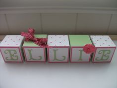 Girl Name Block Set - Pink & Lime Green. $2.75, via Etsy.