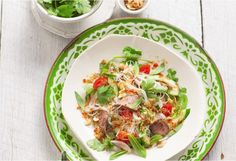 Wonderfully fresh herbs and vegetables mixed with vermicelli and succulently sliced lamb with a Thai dressing.