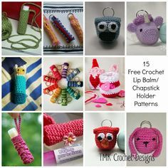 TMK crochet: Free Crochet Round-Up: Lip Balm / Chapstick Holder Free Crochet Bag, Crochet Gifts, Crochet Yarn, Fast Crochet, Crochet Things, Crochet Design, Crochet Patterns, Crochet Ideas, Crochet Round