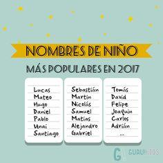¿Quieres conocer los nombre de niño más populares en 2017? ¿Do you want t know most popular spanish names for boy in 2017? #neoborn #baby #newmom #boy #name #bebé #moda #personalizado
