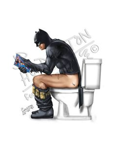 "Batman original Art! Bathroom or man cave ready!   Our grandson, Emerson ( he's 4) wanted Super Heroes in his bathroom! His Grandpa ( J.P. ""Pat"" Huddleston ) is a graphic designer for a t-shirt company and a pin-up artist, so no problem! It all started with Batman on the toilet, reading his Wonder Woman Comic book. Then, Superman brushing his teeth. Third, came Spiderman in his bubble bath with his Iron Man ducky and a soothing candle. Lastly, Captain America is ""going"". Everybody uses the…"