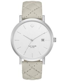 kate spade new york Women's Metro Grand Gray Quilted Leather Strap Watch 38mm 1YRU0846 - Watches - Jewelry & Watches - Macy's