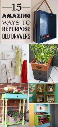 How to creatively repurpose old drawers and transform them into something new and beautiful. Recycled Furniture, Old Furniture, Refurbished Furniture, Painted Furniture, Pallet Furniture, Furniture Projects, Diy Wood Projects, Furniture Plans, Furniture Making