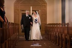 Father Daughter, special moment, beautiful bride walking down the aisle. Wedding Dress from the David's Bridal Collection. Wedding Ceremony at St. Patrick's Catholic Church in Denison, TX. Wedding Photography by LightRing Productions - lightringpro.com